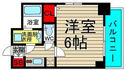 エスリード大阪ドームセルカ 3階1Kの間取り