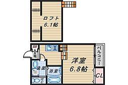 LA CACHETTE OKAMACHI[101号室]の間取り