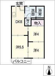 タウン66 C棟[2階]の間取り