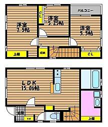 [一戸建] 岡山県岡山市南区大福 の賃貸【/】の間取り