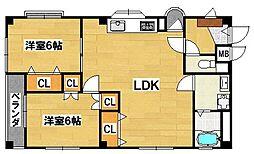 コスモハイツ[1階]の間取り