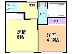 ルーチェ 2階1DKの間取り