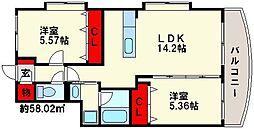 福岡県福岡市南区野多目6の賃貸マンションの間取り