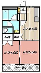 エクシード菊入II[102号室]の間取り