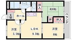 ロワイヤル森田[505号室]の間取り
