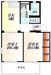 JR高崎線 吹上駅 徒歩8分の賃貸アパート 1階2DKの間取り