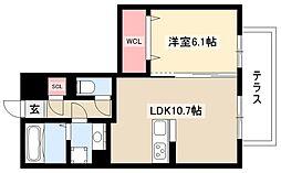 HOURAIマンション 1階1LDKの間取り
