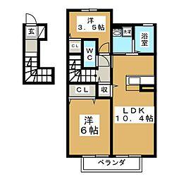 宮城県多賀城市新田字後の賃貸アパートの間取り