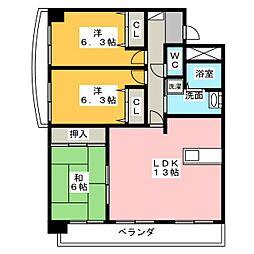 愛知県名古屋市昭和区川名本町5丁目の賃貸マンションの間取り