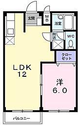 エルディム岡崎B[2階]の間取り