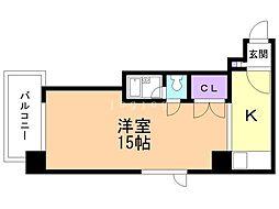 KOYAS VI 7階ワンルームの間取り