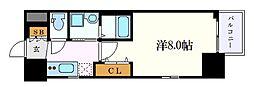 エステムコート名古屋今池アーバンゲート 2階1Kの間取り