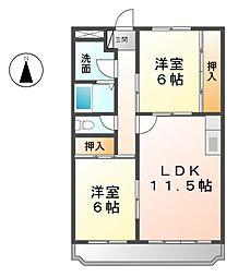 愛知県あま市篠田長堀の賃貸マンションの間取り