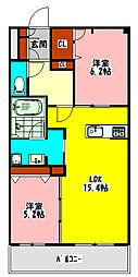 京阪本線 守口市駅 徒歩8分の賃貸マンション 2階2LDKの間取り