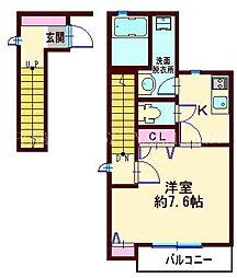 東急池上線 旗の台駅 徒歩3分の賃貸アパート 2階1Kの間取り