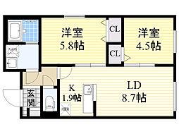 ル・ファール北円山 2階2LDKの間取り