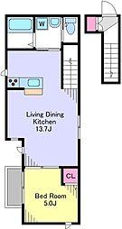イトーハウス西 2階1LDKの間取り