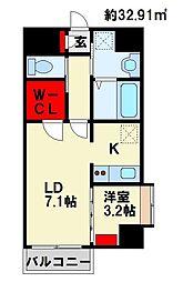JR日豊本線 南小倉駅 徒歩22分の賃貸マンション 2階1LDKの間取り