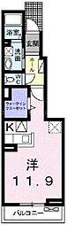 岡山県倉敷市北畝1丁目の賃貸アパートの間取り