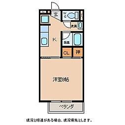長野県上田市中之条の賃貸アパートの間取り