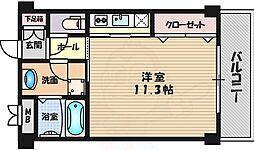 阪急千里線 千里山駅 徒歩16分の賃貸マンション 2階1Kの間取り