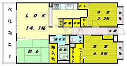 福岡県福岡市東区和白丘2丁目の賃貸マンションの間取り