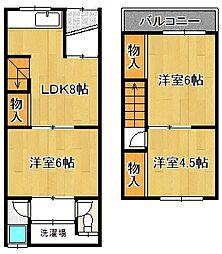 [テラスハウス] 大阪府大阪市平野区喜連1丁目 の賃貸【/】の間取り