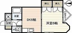 JR山陽本線 広島駅 徒歩23分の賃貸マンション 3階1DKの間取り