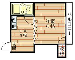 千鳥橋第一ビル[4階]の間取り