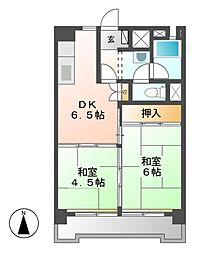 中駒九番団地3号棟[4階]の間取り