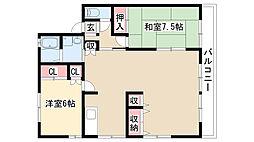 愛知県名古屋市緑区横吹町の賃貸アパートの間取り