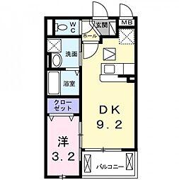 兵庫県尼崎市久々知2丁目の賃貸アパートの間取り