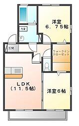 ボヌールA・B[2階]の間取り