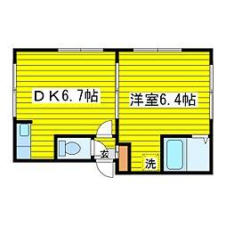 北海道札幌市東区北三十三条東8丁目の賃貸アパートの間取り