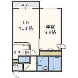 ピュアステージ円山 3階1LDKの間取り