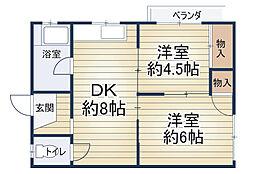 西田マンション[203号室]の間取り