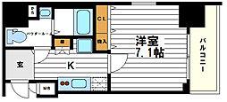 ポルト・ボヌール四天王寺夕陽ケ丘ミラージュ 7階1Kの間取り