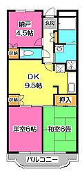 埼玉県所沢市上新井2丁目の賃貸マンションの間取り