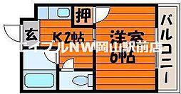 岡山県岡山市北区清心町の賃貸マンションの間取り
