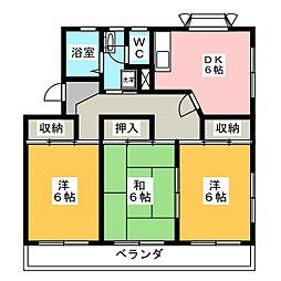 衣浦マンション B棟[3階]の間取り