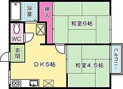 熊谷ハイツ[203号室]の間取り