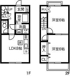 [テラスハウス] 茨城県石岡市若宮4丁目 の賃貸【/】の間取り