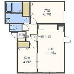北海道札幌市北区太平十二条6丁目の賃貸アパートの間取り