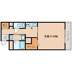 近鉄天理線 天理駅 徒歩1分の賃貸マンション 3階1Kの間取り