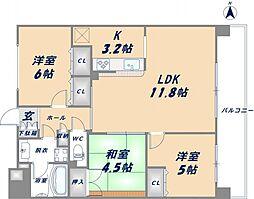 セレッソコート八戸ノ里ハートランドイーストビュー[4階]の間取り