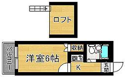 奈良県奈良市南京終町1丁目の賃貸アパートの間取り