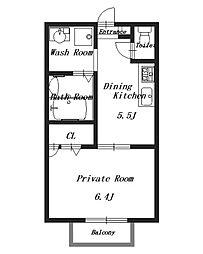 ピリポ八木[2階]の間取り