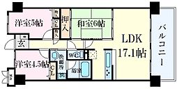 兵庫県西宮市久保町の賃貸マンションの間取り