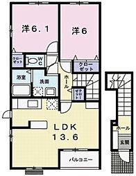 兵庫県姫路市飾磨区阿成渡場の賃貸アパートの間取り
