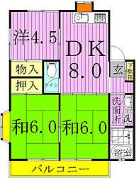 コーポKIKU[A203号室]の間取り